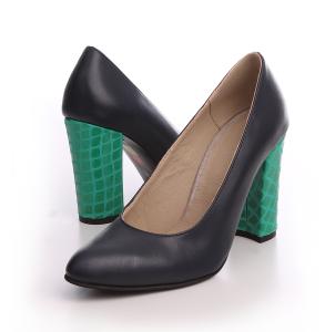 Pantofi din piele naturala neagra cu toc imbracat din piele lacuita verde
