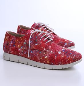 Pantofi din piele naturala de culoare rosie cu print inflorat