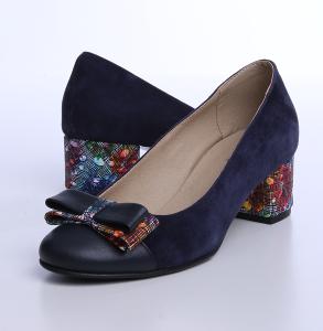 Pantofi cu toc din piele naturala intoarsa si piele box de culoare bleumarin