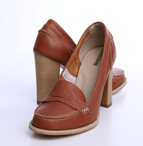 Pantofi cu toc din piele box maro