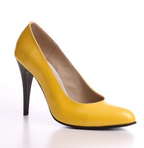 Pantofi cu toc din piele naturala lacuita galben