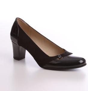 Pantofi piele lacuita naturala combinat cu piele intoarsa neagra
