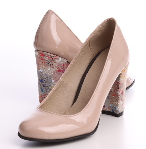 pantof din piele lacuita naturala