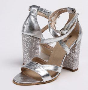 sandale cu toc din piele naturala argintie