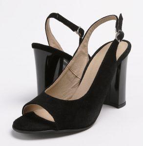 Pantofi decupati in fata si spate din piele intoarsa neagra si captuseala naturala
