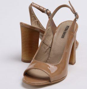 Pantofi decupati in fata si spate din piele lacuita de culoare cappuccino