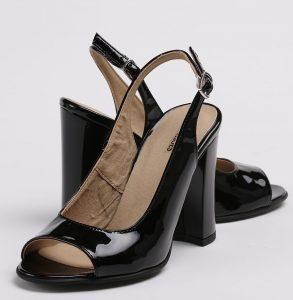 Pantofi decupati in fata si spate din piele lacuita de culoare neagra