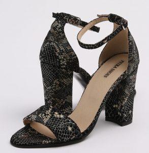 Sandale din piele naturala neagra cu imprimeu sarpe cu toc imbracat