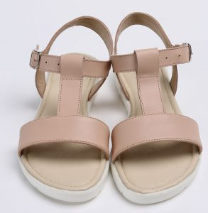 Sandale din piele naturala nude