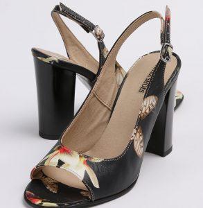 Pantof decupati in fata si spate din piele naturala cu imprimeu floral