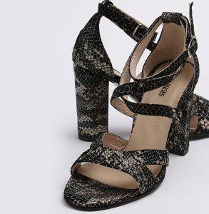 Sandale din piele naturala cu imprimeu sarpe cu tocul imbracat