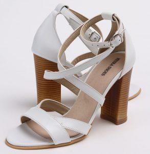 Sandale din piele naturala alba