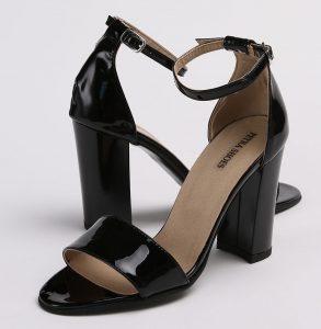 Sandale din piele naturala lacuita neagra