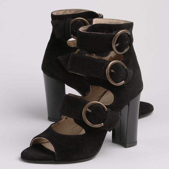 Sandale din piele intoarsa neagra cu inchidere in trei catarame
