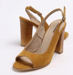 Pantofi decupati in fata si spate din piele naturala de culoare mustar