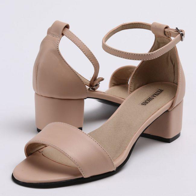 Sandale din piele naturala nude cu toc imbracat la nuanta pielii