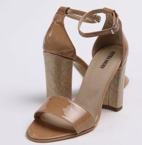 Sandale din piele naturala cappuccino lacuita si toc imbracat in piele naturala cu imprimeu croco